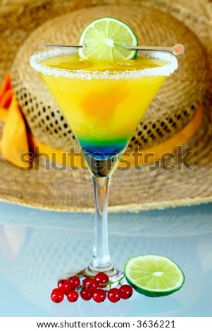 Summer recreational drink  - with of the mango with red