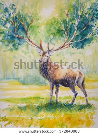 Summer.Red deer with big  horns on whose grow leaves.Picture created with watercolors.