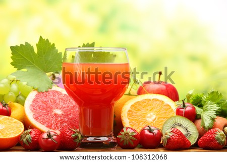 Summer refreshing juice with fruits - stock photo