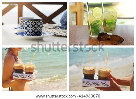 Summer refreshment. Collage set of drinks, ice coffee, mojito. People enjoying drinking iced coffee on the beach - stock photo