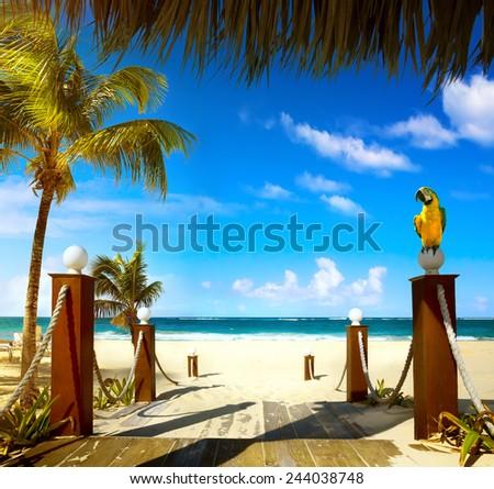 Summer resort  beach - stock photo