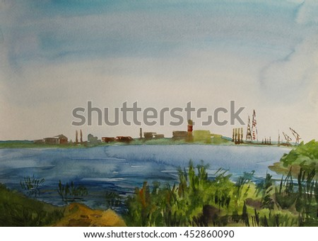 Summer river landscape, mirror-like surface of water, plant building on the horizon, thicket in the foreground, blue sky and sunny weather, hand-drawn watercolor design