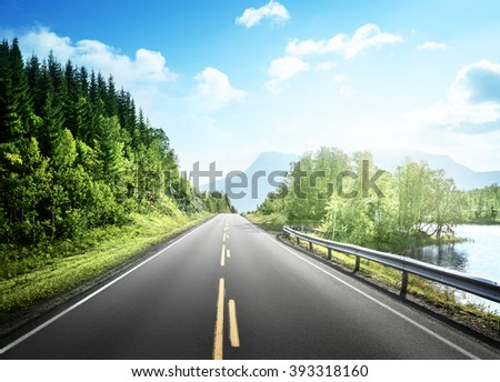 summer road in mountain,  Norway - stock photo