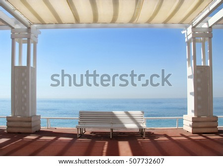 Summer romance on cote dazur, Promenade des Anglais in Nice, France, EU