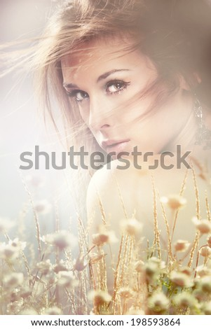 summer romantic portrait of young woman composite photo - stock photo
