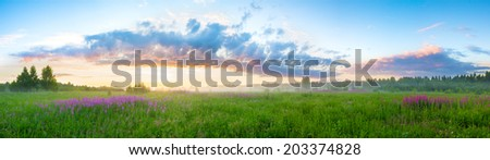 summer rural landscape with sunrise panorama - stock photo