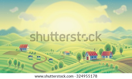 Summer rural landscape with village. Dawn over the village, over the mountains. - stock photo