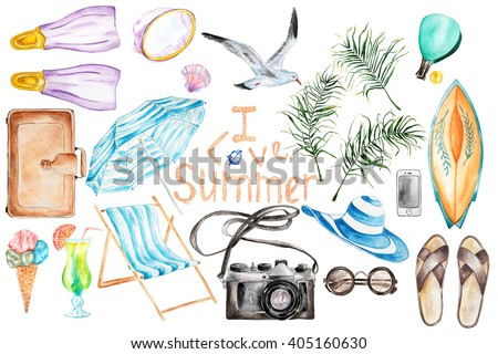 Summer`s vacation hand drawn watercolor set.Isolated objects. - stock photo