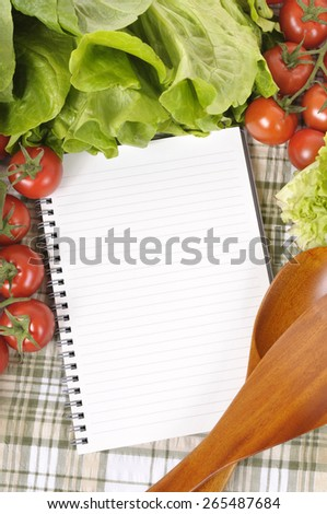 Summer salad vegetable, cookbook, copy space, vertical - stock photo
