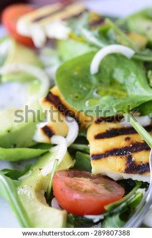 Summer salad with grilled halloumi