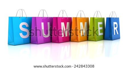 Summer sale concept with shopping bag, 3d render, white background - stock photo