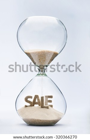 Summer sale. Hourglass falling sand taking the shape of summer sale inscription