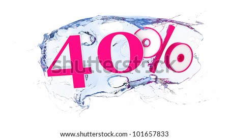 Summer sale or discount tags 40 percent water splash