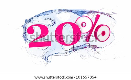Summer sale or discount tags 20 percent water splash