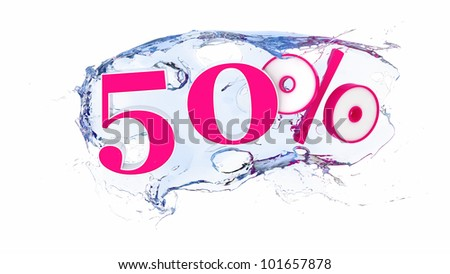 Summer sale or discount tags 50 percent water splash
