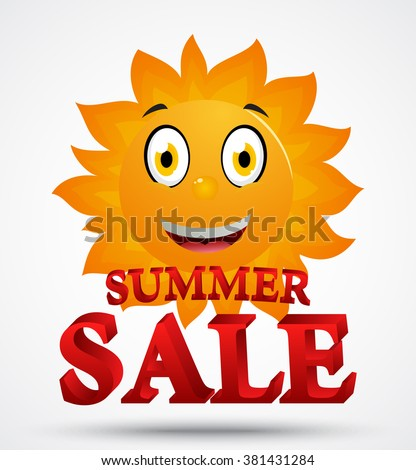 Summer sale with cute sun cartoon - stock photo