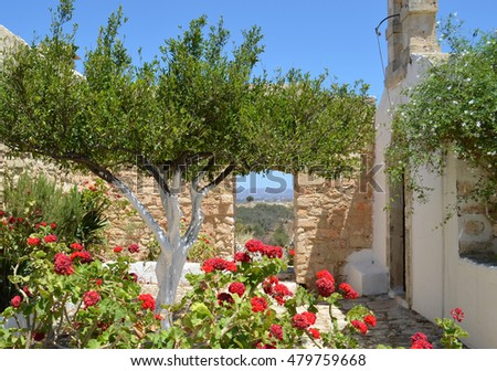 Summer Scene at Ancient Aptera with blooming flowers