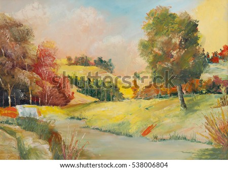Summer scene of landscapes, this is oil painting and I am author of this image, my artwork