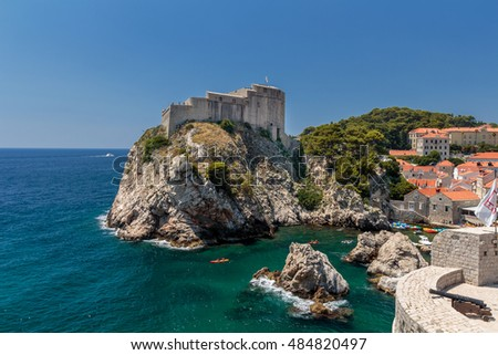 Summer scene of the St. Lawrence Fortress (Lovrijenac) and Dubrovnik Old Town seen from the wall tour