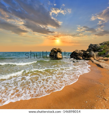 Summer scene on seashore - stock photo