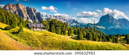 Summer scene with Pizes de Cir mountain range. Colorful sunny panorama of Gardena valley. Morning in Dolomite Alps, South Tyrol. Location Ortisei, S. Cristina and Selva Gardena, Italy, Europe.