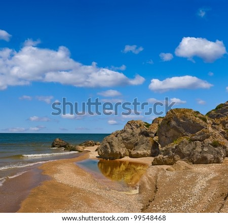 summer sea coast with stones