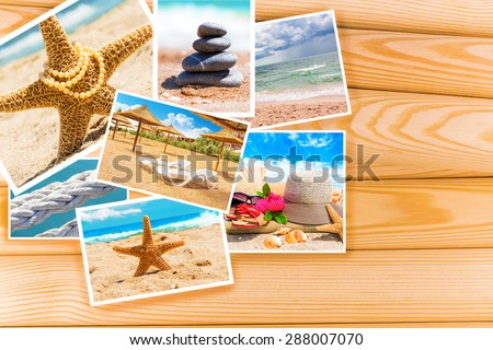 Summer sea photo card on wooden background - stock photo