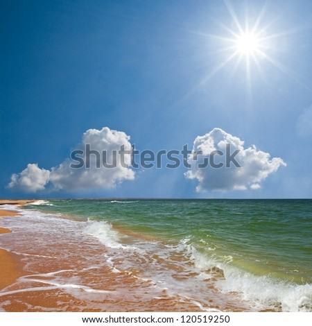 summer sea scene - stock photo