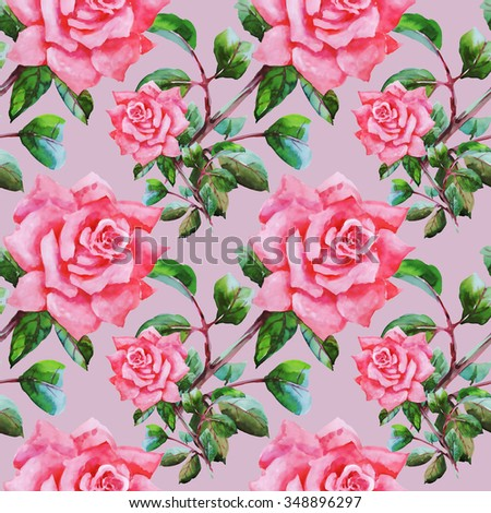 Summer Seamless Watercolor Pattern with Pink Roses and Leaves on a Pink Background
