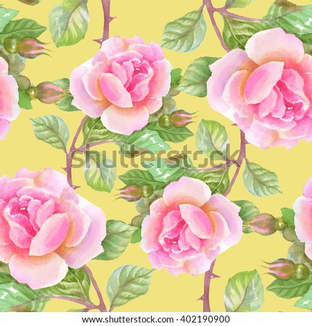 Summer Seamless Watercolor Pattern with Pink Roses on a yellow Background - stock photo