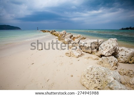 Summer seascape on tropical island Koh Phangan in Thailand. Chalokum beach landscape.