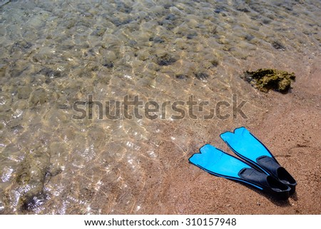Summer seaside fun with a pair of flippers lying ready for skin diving on a sandy tropical beach at the edge of the sea - stock photo