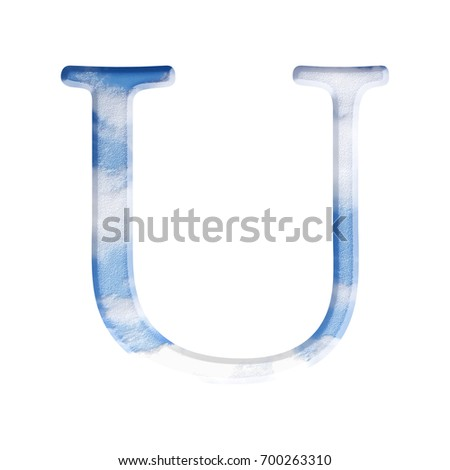 Summer sky themed uppercase or capital letter U in a 3D illustration with a textured blue air and clouds surface style and antique bookletter font isolated on a white background with clipping path.