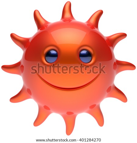 Summer smiley sun face cheerful smile cartoon star ball emoticon happy sunny energy heat red orange person icon. Smiley laughing character holiday chilling sunbathing tropical avatar. 3D render
