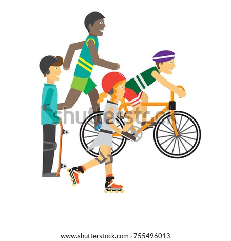 summer sport banner group people sports stock illustration 755496013 rh shutterstock com Working Out Clip Art Drawing Clip Art