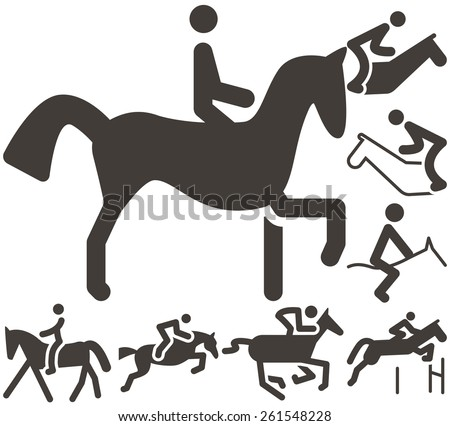 Summer sports icon set - equestrian icons - stock photo