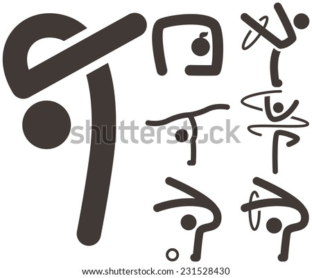 Summer sports icons set - Gymnastics Rhythmic icons - stock photo