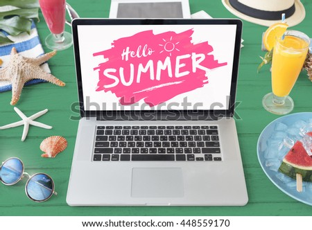 Summer Starfish Laptop Vacation Concept - stock photo