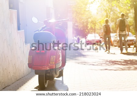 Summer street view vintage background - stock photo