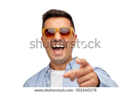 summer, style, emotions and people concept - face of smiling middle aged latin man in shirt and sunglasses - stock photo