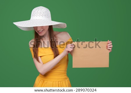Summer style woman showing blank parcel - big envelope with copy space for text - stock photo