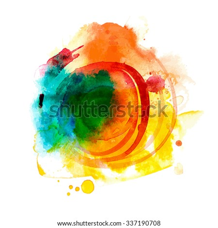 Summer sun splash element. Abstract artistic background. Hand drawn banner. High quality raster illustration.