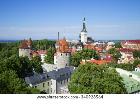 Summer Sunny day over the old Tallinn