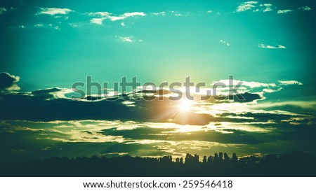 Summer sunset, abstract lomo 16x9 landscape - stock photo