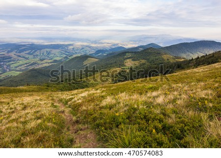 Summer sunset landscape in Carpathian mountains in Ukraine