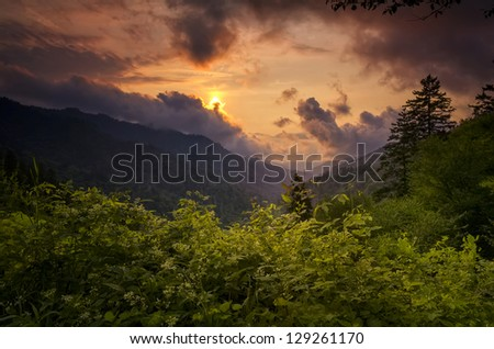 Summer sunset looking out over the Smoky Mountains in Tennessee - stock photo