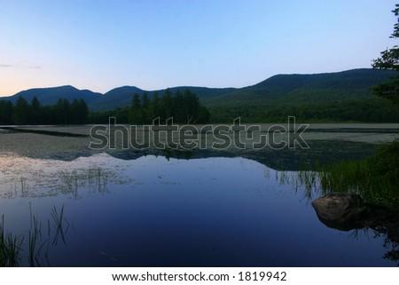 Summer Sunset over Water - stock photo