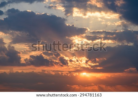 Summer Sunset With Beautiful Cloudy Sky