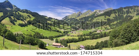 Summer Swiss mountain rural landscape, panoramic