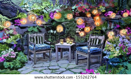 Summer terrace cafe - illustration, sketch - stock photo